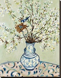 Blue and White Vase with Bird Stretched Canvas Print by Suzanne Etienne