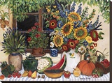 Bounteous Table Stretched Canvas Print by Suzanne Etienne