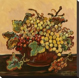 Bowl of Grapes Stretched Canvas Print by Suzanne Etienne
