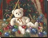 Osito navideño Reproducción de lámina sobre lienzo por Janet Kruskamp