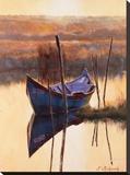 Blue Boat Stretched Canvas Print by Nenad Mirkovich