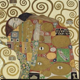 The Embrace (detail) Stretched Canvas Print by Gustav Klimt