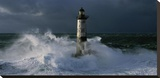Phare d'Ar-Men lors d'une tempete Stretched Canvas Print by Jean Guichard