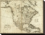 Map of North America, c.1796 Stretched Canvas Print by John Reid
