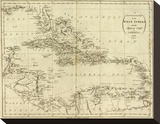Map of the West Indies, c.1796 Stretched Canvas Print by John Reid