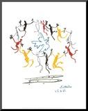Der Reigen Druck aufgezogen auf Holzplatte von Pablo Picasso