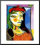 Girl with Red Beret Druck aufgezogen auf Holzplatte von Pablo Picasso