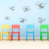 Happy Helicopters (x6) Adesivo de parede