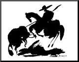 Stierkampf I Druck aufgezogen auf Holzplatte von Pablo Picasso