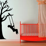 Half Tree & Swinging Boy Adesivo de parede