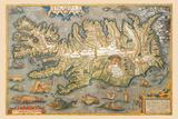 Map of Iceland Plakat af Abraham Ortelius