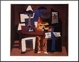 Die drei Musikanten, 1921 Druck aufgezogen auf Holzplatte von Pablo Picasso