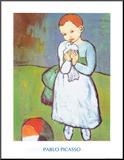 Child with a Dove, c.1901 Druck aufgezogen auf Holzplatte von Pablo Picasso