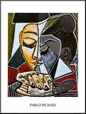 Kopf einer lesenden Frau|Tete d'une Femme Lisant Druck aufgezogen auf Holzplatte von Pablo Picasso