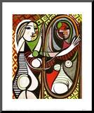 Jeune Fille Devant Un Miroir1932 Druck aufgezogen auf Holzplatte von Pablo Picasso