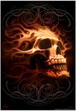 Fire Skull Poster par Tom Wood