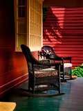 An American Front Porch with Wooden Boarding and Two Whicker Rocking Chairs Photographic Print by Jody Miller
