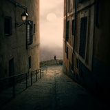 A Cat Watching the Moon in a Dark Street Stampa fotografica di Luis Beltran