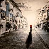An Old Woman Walking in a Cementery Stampa fotografica di Luis Beltran