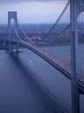 Runners Crossing the Verrazano Bridge after Starting the 1994 New York City Marathon Photographic Print