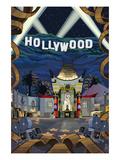 Hollywood, California Scenes Plakater av  Lantern Press