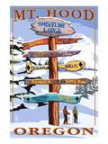 Timberline Lodge - Mt. Hood, Oregon - Winter Ski Runs Sign Print by  Lantern Press
