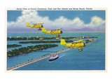 Florida - Planes Flying over Causeway, Miami Beach Láminas por  Lantern Press