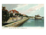 St. Augustine, Florida - Bay Street View of the Sea Wall Poster von  Lantern Press