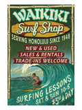 Waikiki Beach, Hawaii - Surf Shop Premium Giclee-trykk av  Lantern Press