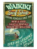 Waikiki Beach, Hawaii - Surf Shop 高品質プリント : ランターン・プレス