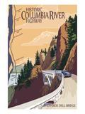 Columbia River Gorge, Oregon - Historic Columbia River Highway Affiches par  Lantern Press