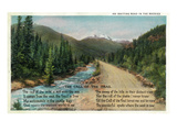 Colorado - Scenic Road in the Rocky Mountains, Poem Lámina por  Lantern Press