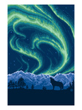 Northern Lights and Wolf Art by  Lantern Press