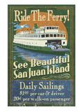 San Juan Island, Washington - Ferry Ride Premium Giclee Print by  Lantern Press