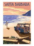 Santa Barbara, California - Woody on Beach Poster par  Lantern Press