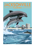 Jacksonville Beach, Florida - Jumping Dolphins Stampa di  Lantern Press