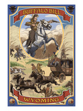Buffalo Bill and Wagon Scene - Wyoming Poster von  Lantern Press