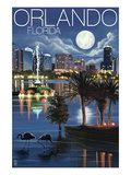 Orlando, Florida - Skyline at Night Posters by  Lantern Press