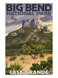 Big Bend National Park, Texas - Casa Grande Premium Giclee-trykk av  Lantern Press