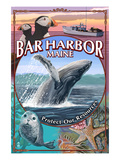 Bar Harbor, Maine - Wildlife Montage Poster von  Lantern Press