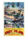 Cincinnati, Ohio - Coney Island Amusement Park Greetings Affischer av  Lantern Press