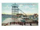 Long Beach, California - Pier View of the Pike Poster von  Lantern Press