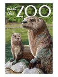 River Otter - Visit the Zoo Print by  Lantern Press
