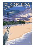 Florida - Lighthouse and Blue Heron Sunset Plakat av  Lantern Press