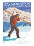 Skier Carrying - Whitefish, Montana - Snowboarder Jumping Prints by  Lantern Press