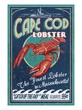 Cape Cod, Massachusetts - Lobster Plakater af  Lantern Press