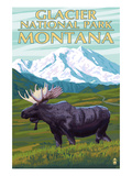 Glacier National Park, Montana - Moose and Mountain Láminas por  Lantern Press