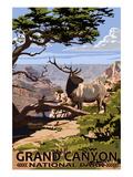 Grand Canyon National Park - Elk and South Rim Pôsteres por  Lantern Press