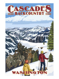 North Cascades, Washington - Showshoer Scene Posters av  Lantern Press