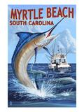 Myrtle Beach, South Carolina - Marlin Fishing Scene Poster von  Lantern Press
